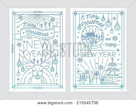 Set of Merry Christmas and Happy New Year festive greeting card or postcard templates with holiday decorations drawn with blue contour lines on white background. Vector illustration in lineart style