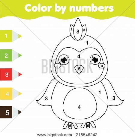 Children educational game. Coloring page with parrot. Color by numbers printable activity worksheet for toddlers and pre school age