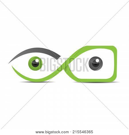 Eyes with glasses coloring design illustration. An Abstract eye with glasses logo designs