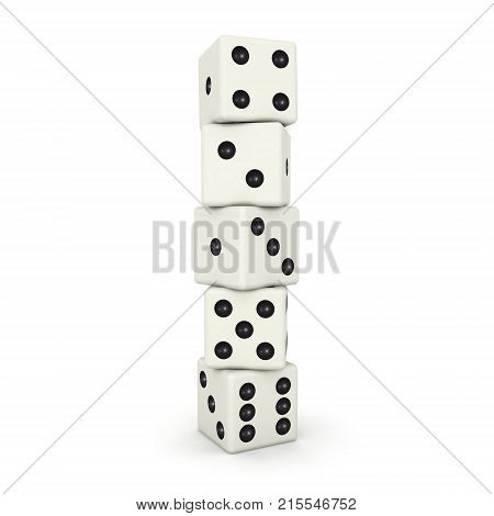 3D illustration of gambling dice stacked on top each other. Isolated on white.