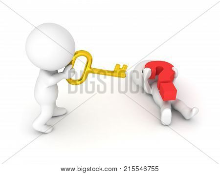 3D Character is offering a golden key to another character who is trapped under a big red question mark. Image symbolizing cooperation and group think.