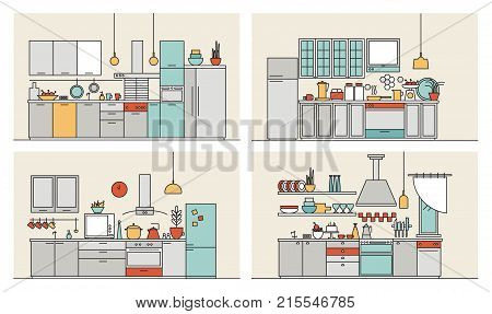 Collection of kitchens furnished with modern furniture, household appliances, cooking facilities and utensils. Set of modern home interiors drawn in line art style. Colorful vector illustration.