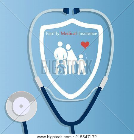Original trendy vector illustration of realistic Stethoscope . Medical equipment collection. Heart care. Stethoscope with family logo. Family heart or health care