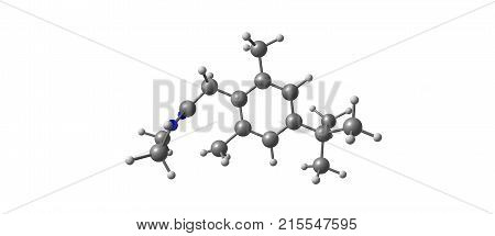 Xylometazoline Molecular Structure Isolated On White
