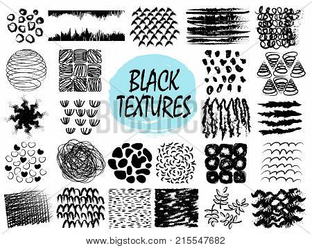 Black textures samples of patterns including geometric shapes, hearts and branches with leaves on vector illustration isolated on white