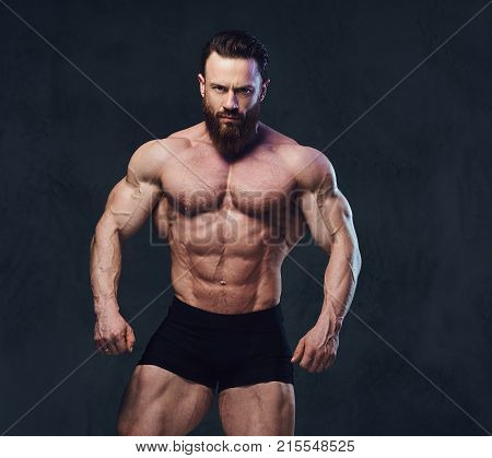 Portrait of bearded shirtless bodybuilder over grey background.