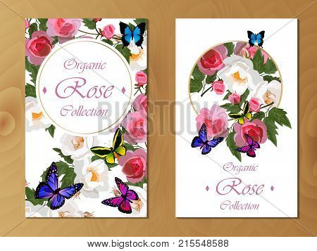 Celebration postcard design with roses and butterflies. Great design for wedding or other celebration invitation