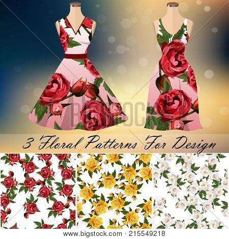 embroidery seamless rose pattens with dress template. Romantic textile set. Summer dress or night dress design