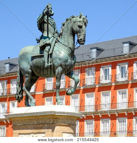 Plaza Mayor, a major landmark in central Madrid with the equestrian statue of Philip III