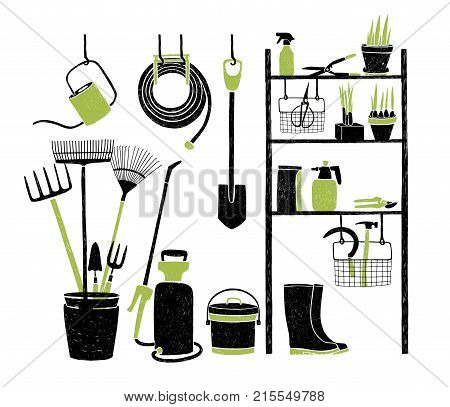 Hand drawn gardening tools storing on shelving, standing and hanging beside it on white background. Organized storage of agricultural equipment. Vector illustration in green and black colors