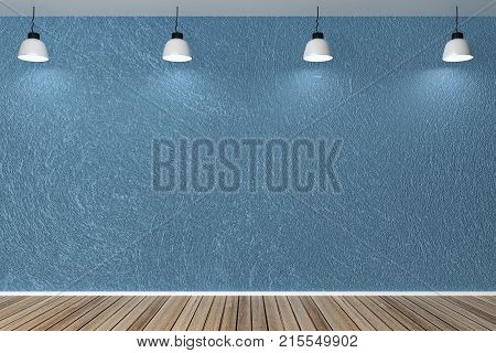 Modern Interior With Empty Blue Wall