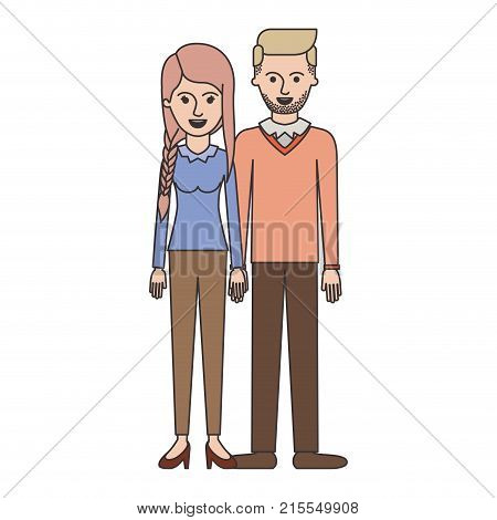 couple colorful silhouette and her with blouse long sleeve and pants and heel shoes with braid and fringe hairstyle and him stubble beard and sweater and pants and shoes with side parted hairstyle vector illustration