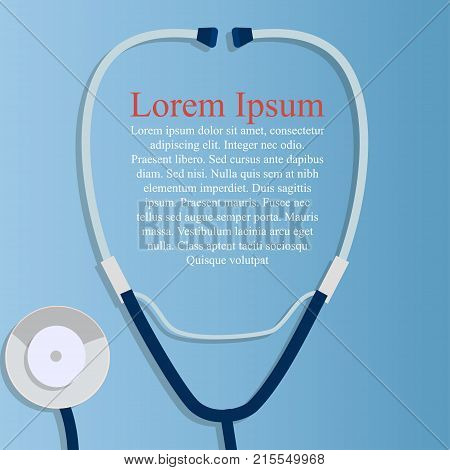 Original trendy vector illustration of realistic Stethoscope . Medical equipment collection. Heart care. Stethoscope On blue background with place for text