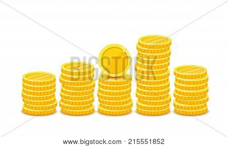 Heap of gold coins in flat vector style isolated on white background. Pile of money arranged as a graph