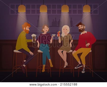 Smiling men and women dressed in stylish clothing sitting at bar, talking and drinking alcoholic drinks. Cheerful friends spending time at pub. Flat cartoon characters. Colorful vector illustration