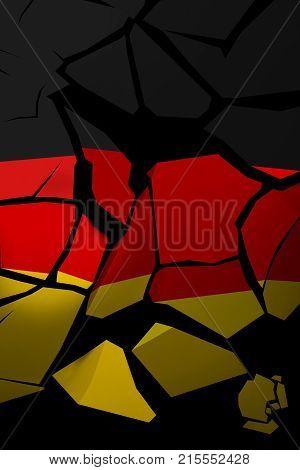 3D Illustration of a shattered Germany flag.