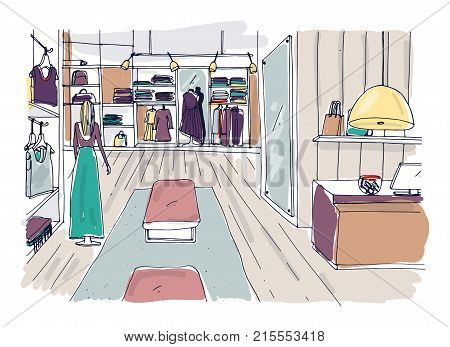 Rough sketch of clothing showroom interior with hangers, shelving, furnishings, mannequin dressed in trendy clothes. Hand drawn fashion boutique or apparel shop. Colored vector illustration