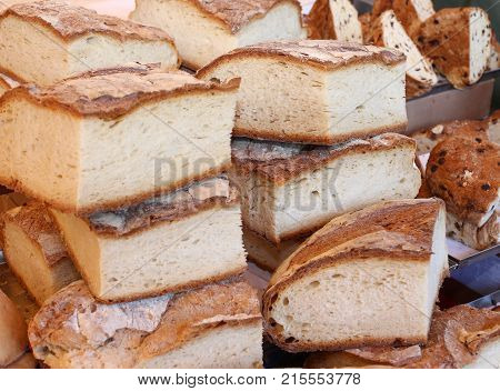 Loaves Of Homemade Bread For Sale In The Neighborhood Bakery
