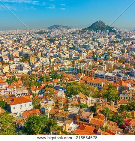 Panoramic view of Athens city, Greece