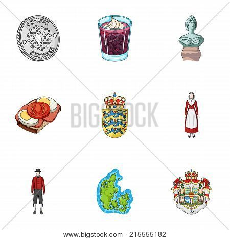 Kopeck, money, crown, and other  icon in cartoon style.Attributes, country, Denmark icons in set collection