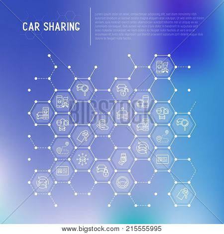 Car sharing concept in honeycombs with thin line icons of driver's license, key, blocked car, pointer, available, searching of car. Vector illustration for banner, web page, print media.