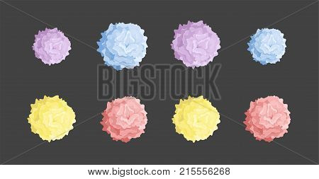 Collection of colored pom poms. Colorful decorative elements isolated on black background. Vector illustration