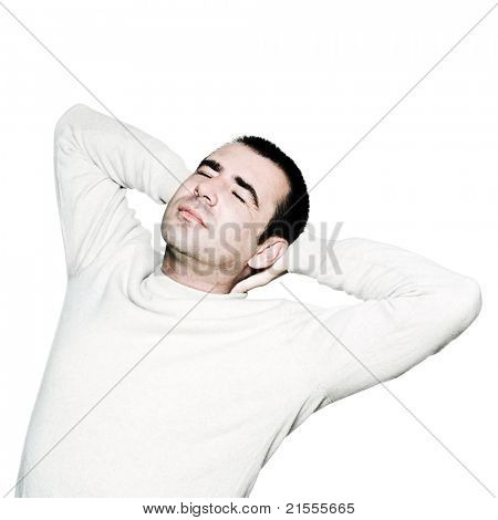 Portrait of a handsome expressive man having neck pain in studio on white isolated background