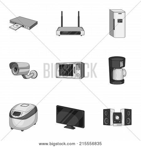 Kitchen appliances monochrome icons in set collection for design.Home appliances and equipment vector symbol stock  illustration.