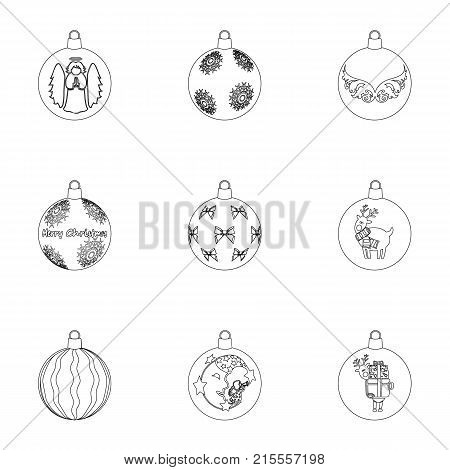 Toys for a Christmas tree outline icons in set collection for design.New Year ballsvector symbol stock  illustration.