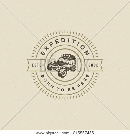 Off road car logo emblem vector illustration. Outdoor extreme adventure expedition, safari suv silhouette shirt, print stamp. Vintage typography badge design.