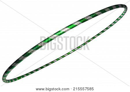 The Hula Hoop Silver With Green Closeup Isolated On White Background