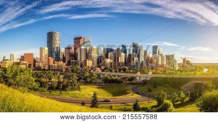 City skyline of Calgary at sunset, Alberta, Canada