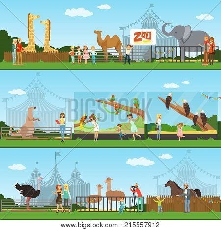 People visiting an zoo set of vector Illustrations, parents with children watching wild animals, zoo concept banners