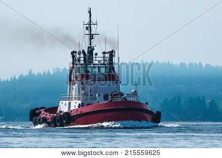 Tug on Puget Sound in lightly foggy weather with Bainbridge Island in background.