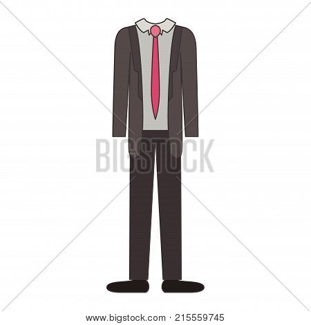 male clothes with suit and shirt with tie and pant and shoes in colorful silhouette vector illustration