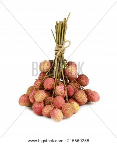 Lychee or Litchi chinensis fruit isolated on white background.