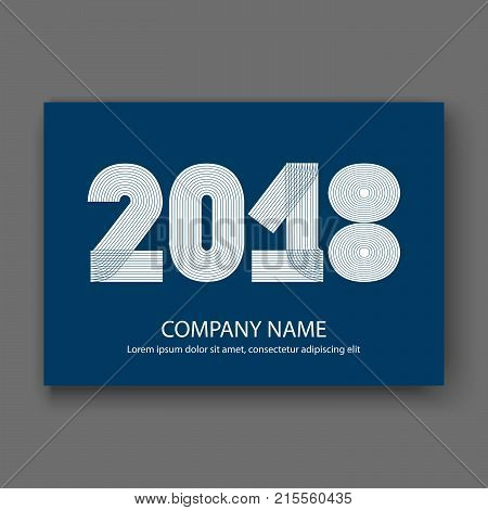 Cover Annual Report Numbers 2018, Modern Design White On Blue Background Horizontal, Year 2018 In Th