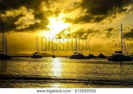 Sailboats at anchor in British  Islands Harbor
