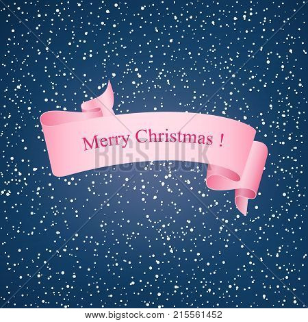Snowfall Snow Falls in the Night Sky White Snowflakes on Blue Background with Pink Ribbon Merry Christmas Vector Illustration
