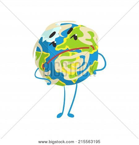 Cute skeptical cartoon Earth planet character with hands on its waist, funny globe emoji vector Illustration on a white background