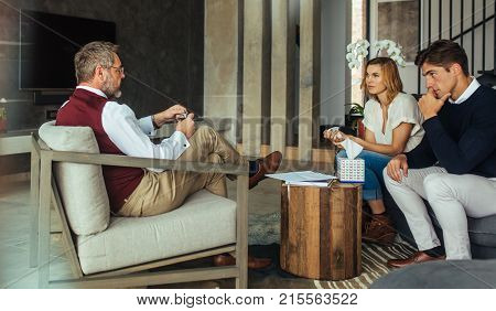 Couple Having Counseling And Psychotherapy Session