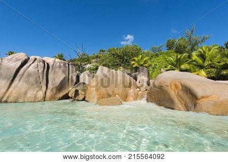 Beautiful and a famous beach Anse Lazio seen from the sea, Praslin island, Seychelles.