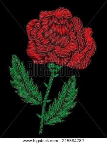 Embroidery stitches imitation red roses. Fashion embroidery rose flower on black background. Embroidery big roses vector.
