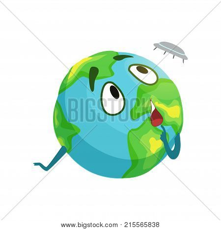 Funny Earth planet character looking at flying saucer, cute globe with face and hands vector Illustration on a white background