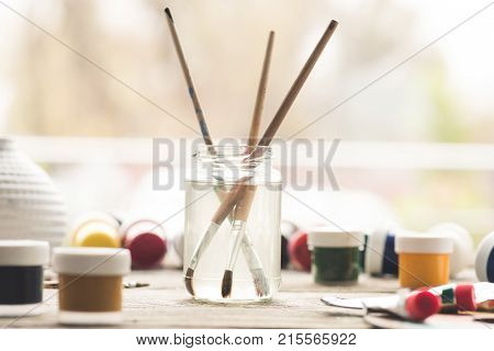 Paint Brushes In Solvent