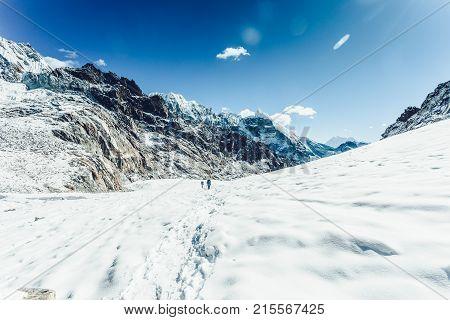 Cho La glacier on Himalayan mountain range