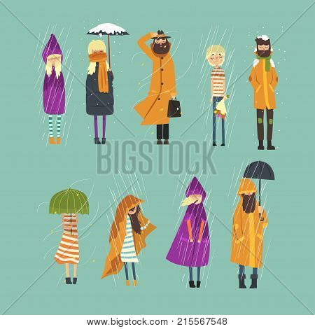 Cartoon people characters set freezing outside. Rainy and snowy weather. Sad boy with bouquet of flowers, bearded man in raincoat, girl with umbrella in hands. Isolated flat design vector illustration