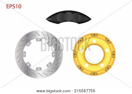 Car disc brake system with black caliper. Automotive parts concept. Vector illustration design. EPS10