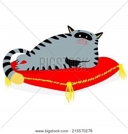 Cute smiling cat lying on the red pillow. Lazy feline cartoon character. Vector illustration
