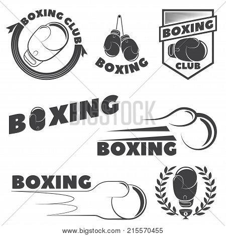 Set of boxing club emblems. Boxing gloves. Vector illustration
